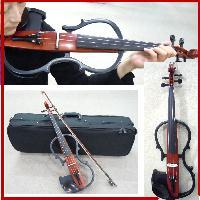 ブラウン【1年保証・お届け直前バイオリン調整付き】 サイレントバイオリンセット/ケース・弓・松脂4点セット