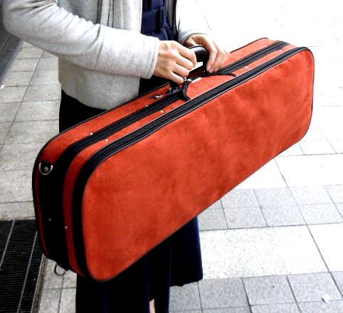 バイオリンケース4/4サイズ スエードケース 赤茶色(テラコッタ)