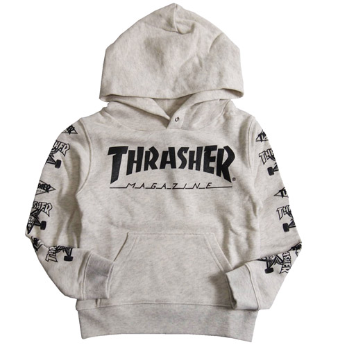 THRASHER スラッシャー(150-160cm)スウェット プルオーバーパーカー オフホワイト(メール便不可)FLAKE 子供服 フレイク  150cm/160cm