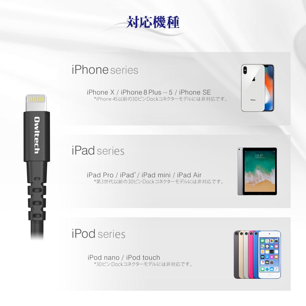 お得な3サイズセット Lightningケーブル 充電 データ転送 iPhone iPad Apple認定 50cm 120cm 200cm 0.5m 1.2m 2m ライトニングケーブル iPhone8 iPhoneX iPHoneXS iPhoneXS Max iPhoneXR 1年保証 メール便[SET]