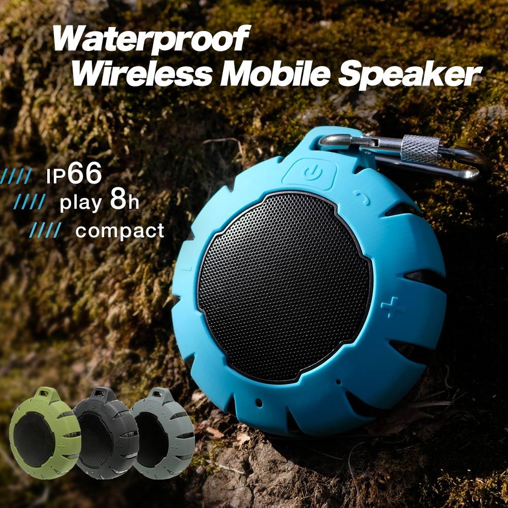 期間限定価格 Bluetooth ワイヤレススピーカー 【IP66/防水・防塵】ブルートゥース ハンズフリー通話 ポータブルスピーカー ブラック グレー カーキ ライトブルー 水に浮く カラビナ付 アウトドア 充電式 BBQ 屋外 ビーチ iPhone7 アンドロイド スマートフォン 1年保証