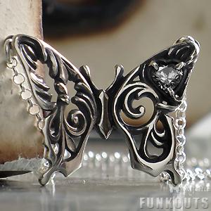 (オーダー品)(FUNKOUTS)(Ageha)透かし羽の大きなアゲハ蝶ネックレス/シルバー925(FAN-073)