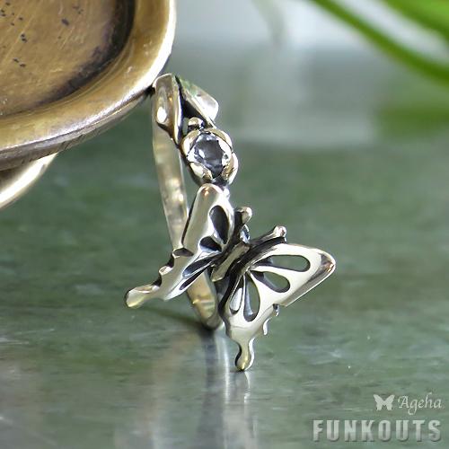 (オーダー品)(蝶 リング 指輪)(FUNKOUTS)(Ageha)今にも飛び立ちそうな透かし羽のアゲハ蝶と花のつぼみ ゴシック調クール シルバー925 リング 指輪 蝶々 バタフライ フラワー 天然石 ナチュラルストーン パワーストーン(FAR-077)