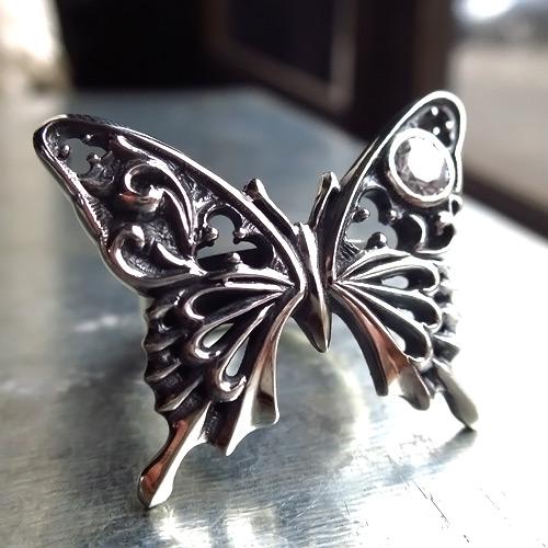 (FUNKOUTS)Ageha ゴシック調の繊細な模様で表現 アゲハ蝶のリング 誕生石 designer:yusuke nagao silver925 シルバー オーダー品 [FAR-093]