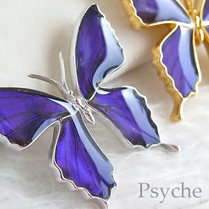 (Psyche/オーダー品) 本物の蝶の羽 アゲハ 蝶 ブローチ ペンダント 2WAY仕様 (ムラサキツバメ/シルバー925)