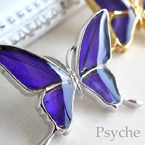 (Psyche/オーダー品) バタフライ 蝶 ネックレス 蝶の羽 タスキアゲハ ネックレス (ムラサキツバメ/シルバー925)