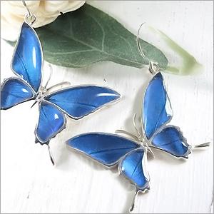 (Psyche/オーダー品) バタフライ ピアス蝶 本物の蝶の羽 Butterfly バタフライ タスキアゲハ ピアス(片耳販売)(メネラウスモルフォ/シルバー925) フックピアス シルバー ゴールド