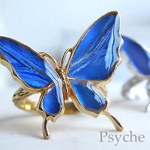 (Psyche/オーダー品) バタフライ 舞い飛ぶ蝶 リング(フリーサイズ)(カキカモルフォ/シルバー925)
