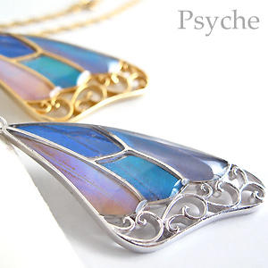 (Psyche/オーダー品) バタフライ 蝶 ネックレス 蝶の羽 ネックレス (4種類のモルフォ/シルバー925)
