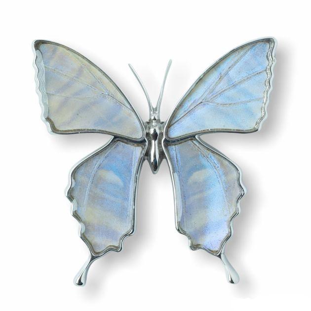 (Psyche/現品) モルフォ蝶 本物の蝶の翅アクセサリー バタフライ 蝶 ブローチ兼ペンダント (スルコウスキーモルフォ/シルバー925/)