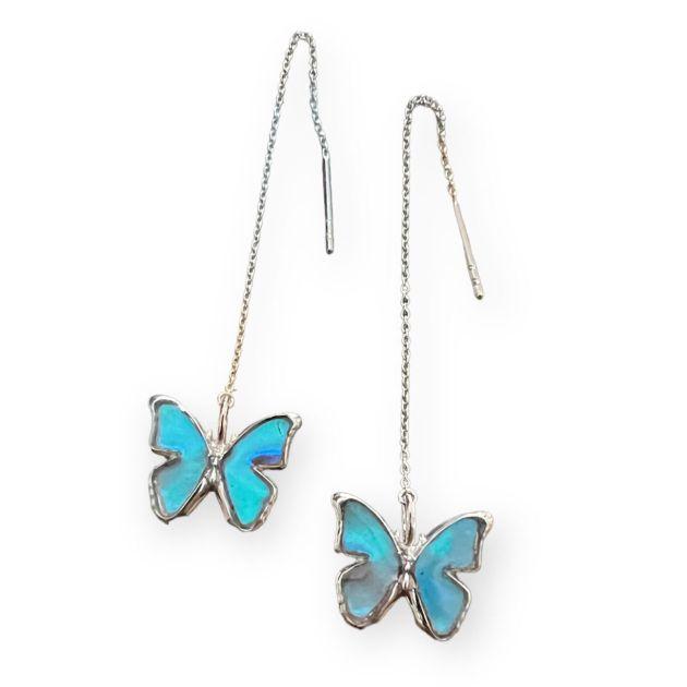(Psyche/現品) 本物の蝶の翅 モルフォ蝶 アメリカンチェーンピアス [ゼフィリティスモルフォ]