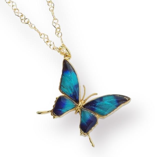 (Psyche/現品) 本物の蝶の翅 タスキアゲハデザイン ネックレス [ドクソコパチェルビナ]