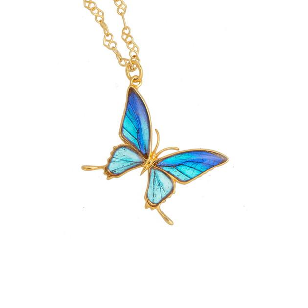 (Psyche/現品) 本物の蝶の翅 タスキアゲハデザイン ネックレス [タミラスムラサキシジミ]