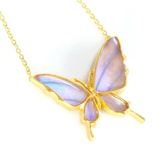 (Psyche/現品) 舞い飛ぶ蝶デザイン バタフライネックレス [オーロラモルフォ]