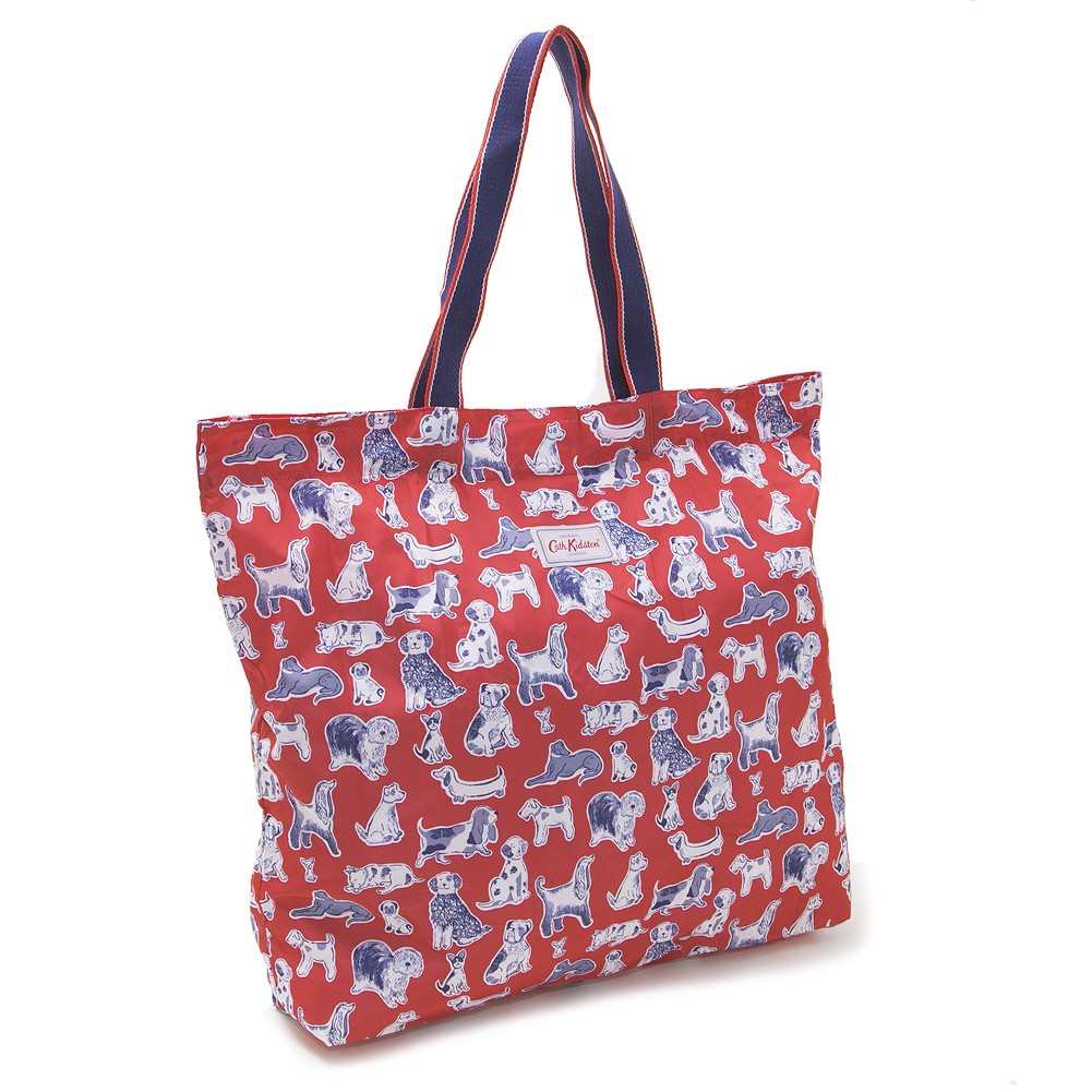 Cath Kidston Tote Bag Large Foldaway Folder Way Thoth 833103 Squiggle Dogs スクイグルドッグ Red Lady S