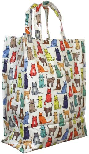 ULSTER WEAVERS ビニールコーティング お手入れ簡単 コットンバック ショッピングバッグ 通勤 お稽古バッグ 祝 プレゼント 母の日 MEDGBUW15 BAG PVC 高品質 ミディアムガセットバッグ 商舗 猫 Cat アルスターウィーバーズ社製 Walk ネコ イギリス