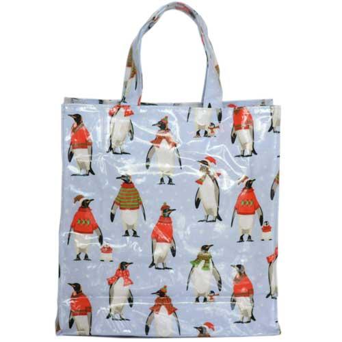 Samuel Lamont PVC BAG ビニールコーティング コットンバッグ お手入れ簡単 使い勝手の良い サブバッグ 通勤 お散歩 国内正規総代理店アイテム かわいい ミニガセットワイドバッグ ギフト MGB987 お祝 プレゼント Cosy Penguin ぺんぎん 母の日