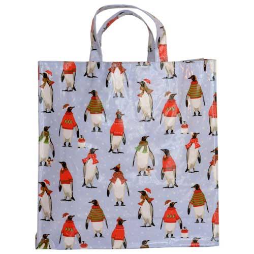 Samuel Lamont PVC BAG ビニールコーティング お手入れ簡単 コットンバック ショッピングバッグ 通勤 MEDGB987 かわいい 入荷予定 プレゼント 母の日 Penguin お祝 ペンギン セール品 ミディアムガセットワイドバッグ Cosy