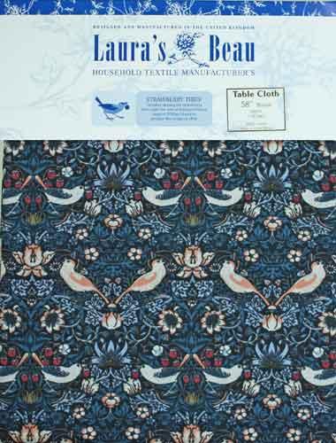 モリスデザインオックスフォードタイム ラウンド型・テーブルクロス Strawberry Thief Blue  TBCH3C(約 直径147cm)