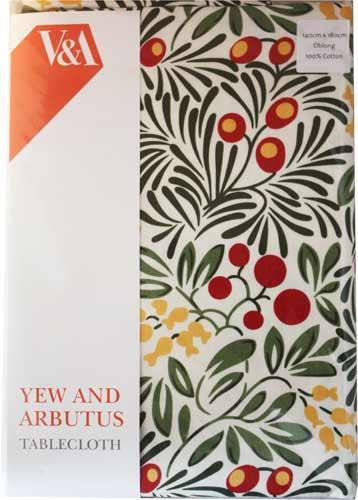 V&A ヴィクトリア&アルバート コットンテーブルクロス Yew & Arb TBCH60R(約 140×180cm)