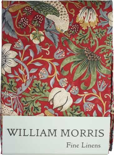モリスデザインオックスフォードタイム (長方形)テーブルクロス Strawberry Thief Crimson TBCH75RL(約 縦132cm × 横228cm)