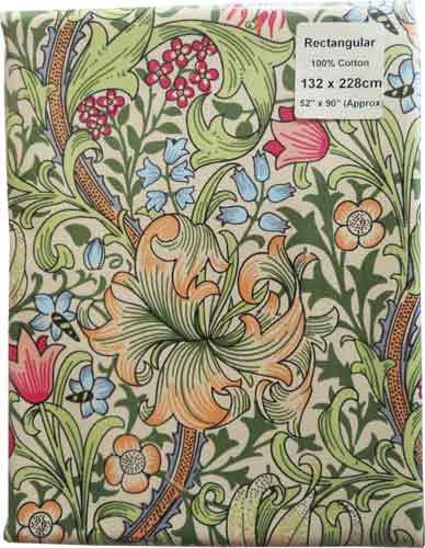 モリスデザインオックスフォードタイム テーブルクロス(長方形) Golden Lily TBCH36RL(縦132cm × 横228cm)