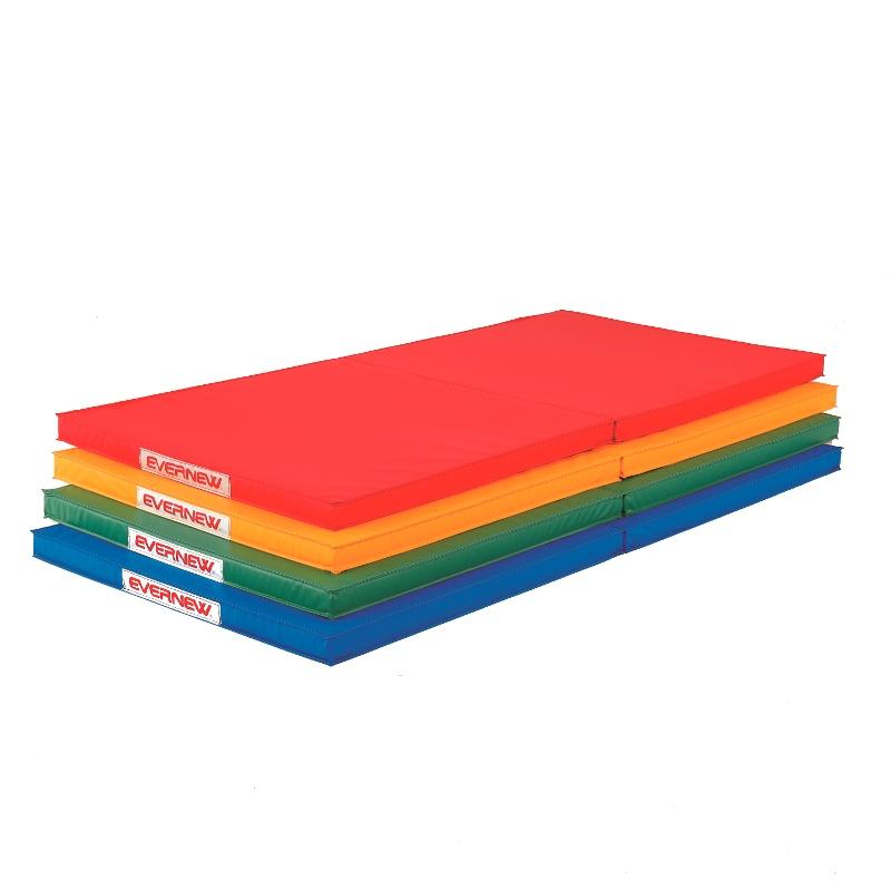 エバニュー(EVERNEW) 屋内外兼用折りたたみ体操マット90×180×5 緑 黄 赤 青 EKM418