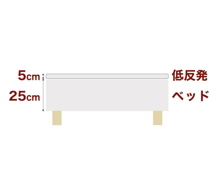 セレクトベッドボンネルコイルスプリングベッド+厚さ5cm低反発マット脚:木目柄(22cm)クイーンサイズ(160×195cm)生成(キナリ)