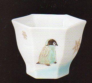 【九谷焼】 作家 山岸青矢作 ペンギン ぐい吞み