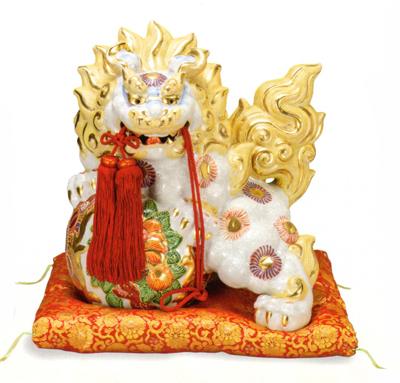 【九谷焼】魔除け 13号 牡丹獅子・白盛(箱入)