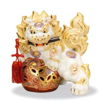 【九谷焼】魔除け 8号 剣獅子・白盛(箱入)