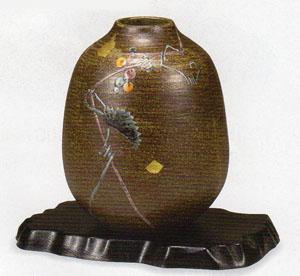 【九谷焼】6.5号 山ぶどう 花瓶 化粧箱入