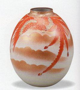 【九谷焼】7.5号 赤絵鳳凰文 花瓶 木箱入