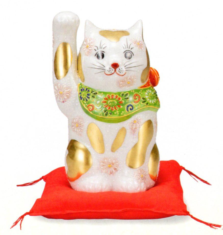 【九谷焼】縁起物 5号 招き猫・金ブチ盛(箱入)