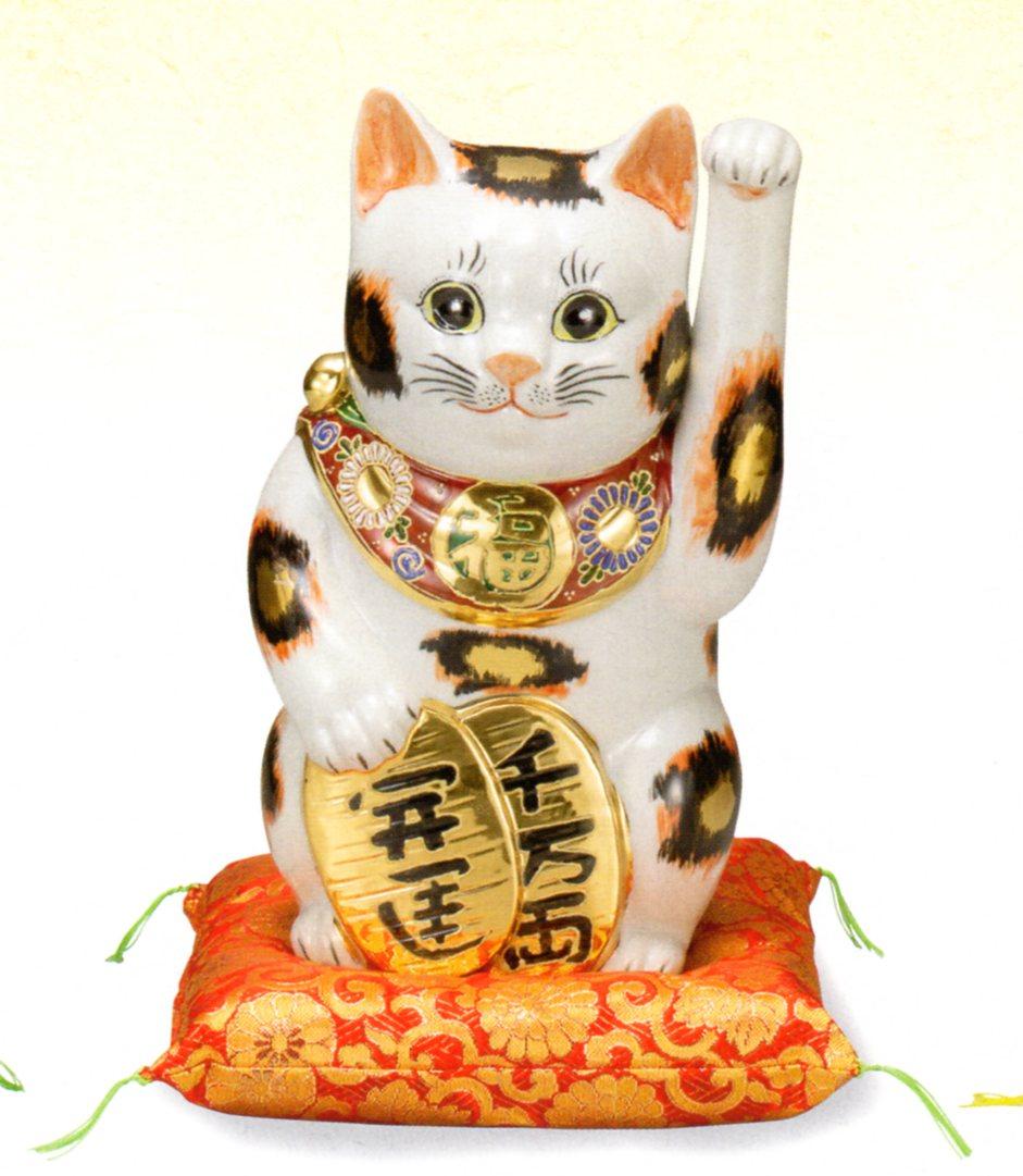 【九谷焼】縁起物 8号 招き猫・金三毛(箱入)