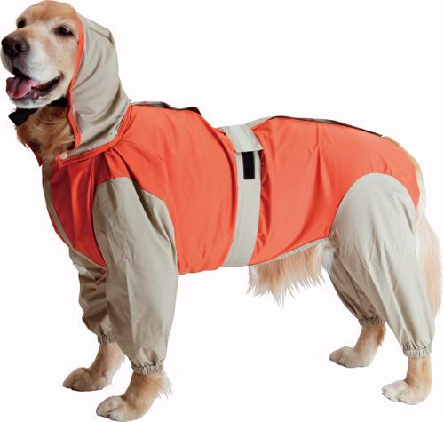 大型犬用レインコート 超はっ水安全コート 【オレンジ×ベージュ】大型犬 レインコート