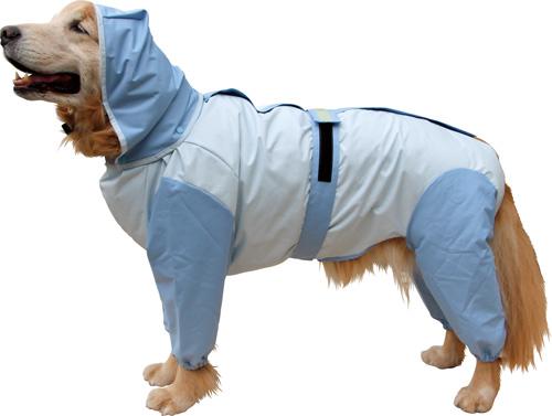 大型犬用レインコート 超はっ水安全コート 【アイスブルー×水色】大型犬 レインコート