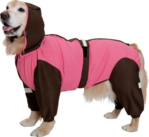 大型犬用レインコート 超はっ水・安全コート 【ストロベリー×チョコレート】大型犬 レインコート
