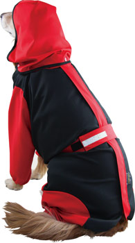 犬用レインコート 超はっ水安全コート 【ブラック×レッド】大型犬 レインコート
