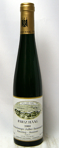 ブラウネベルガー ユッファー ゾンネンウーア リースリング アウスレーゼ ゴールド・キャプセル フーダー9[2000]フリッツ・ハーク 375ml 【赤ワイン】【あす楽】
