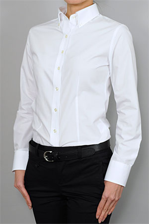 White slim fit dress shirt women