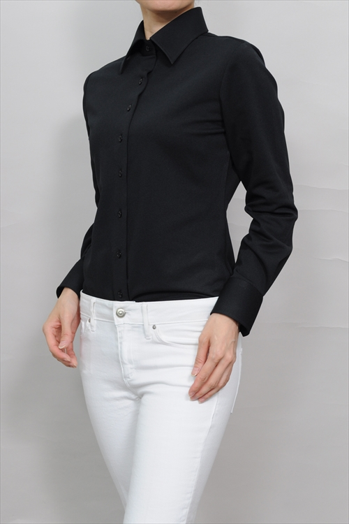 Domestic Black Plain Fabric Woman Suit Inner Blouse Cool Biz Polo Shirt Business Female Office