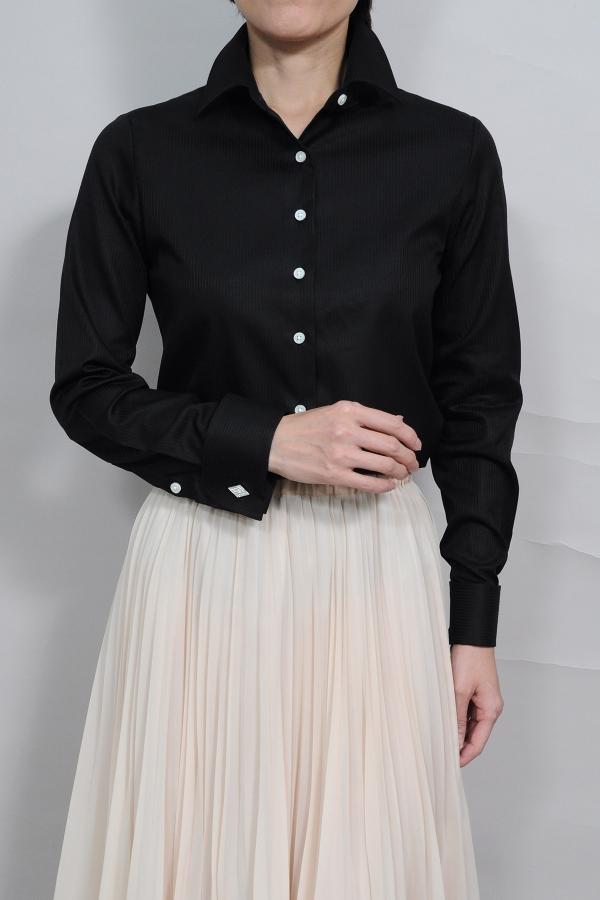 e5ae1d6f Lady's shirt Lady's shirt | Long sleeves shirt business shirt office  collared shirt plain fabric Black ...