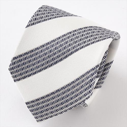美しい透け感が魅力のフレスコタイ シルク100% ネクタイ 日本製ネクタイ 搦み織 からみおり 絡み織 タイ レジメンタル ネイビーブルー 紺青 メンズ 男性用 ギフト フレスコネクタイ OZIE ギフト