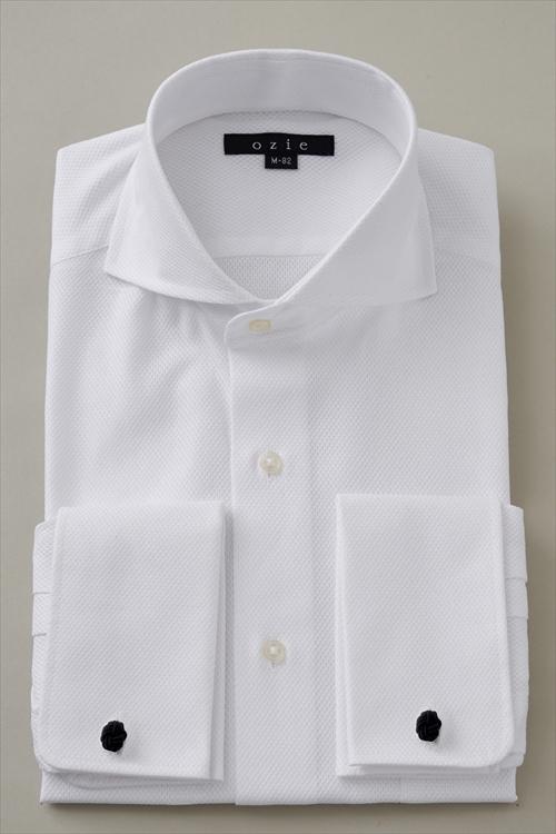 ドレスシャツ 長袖 高級 ワイシャツ タイトフィット| ホリゾンタルカラー ダブルカフス シャツ メンズ スリム カッタウェイ ビジネス おしゃれ ビジネスシャツ カッターシャツ ダブルカフスシャツ Yシャツ フォーマル オフィス 白 綿100% 白シャツ 長袖シャツ カフスシャツ