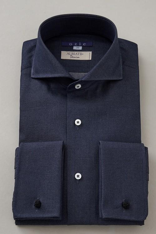 ドレスシャツ 長袖 高級 ワイシャツ タイトフィット 綿100% ホリゾンタルカラー シャツ メンズ ダブルカフス ブルー おしゃれ スリム トールサイズ ビジネスシャツ ホリゾンタル ダブルカフスシャツ カッターシャツ Yシャツ カフスシャツ デニム ビジネス 送料無料