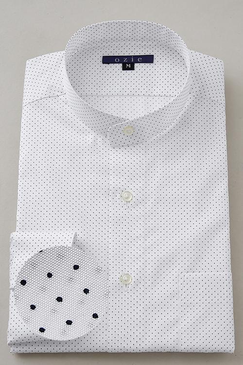 104ed16d160c1 シャツ メンズ スタンドカラー ドレスシャツ ビジネス 長袖シャツ 綿100% おしゃれ 日本製 ビジネスシャツ カッターシャツ Yシャツ オフィス  ドット コットンシャツ 白 ...