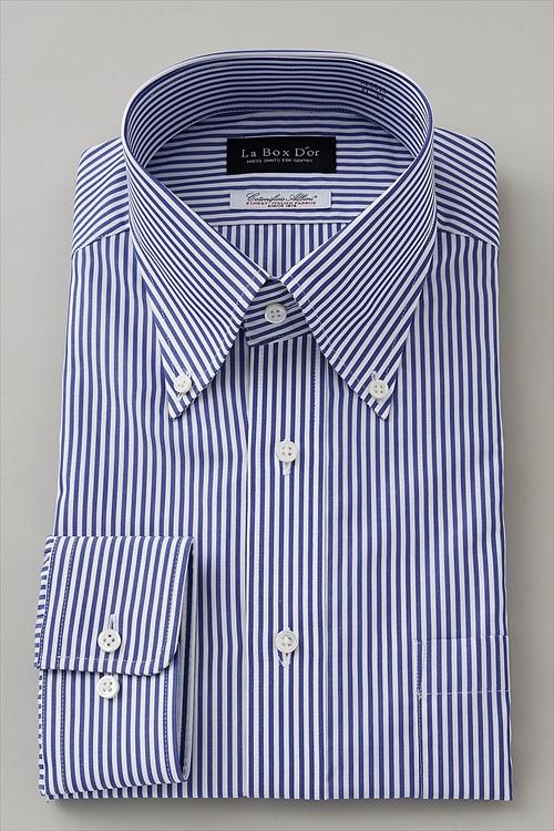 Dress Shirt Long Sleeve On Down Collar Blue Stripe An Made