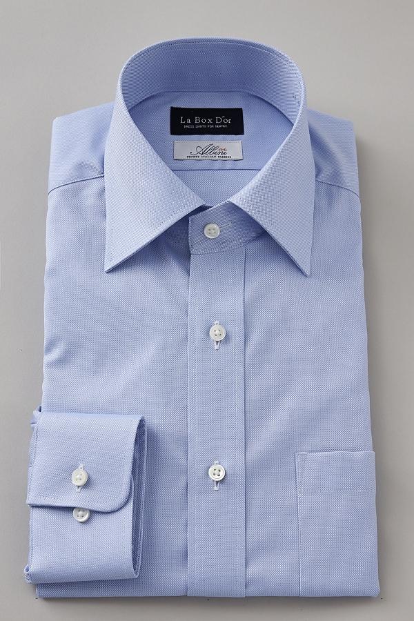 ドレスシャツ 長袖ワイシャツ ワイドカラー ブルー 青 | ワイシャツ メンズ ビジネス 高級 長袖シャツ 日本製 Yシャツ 無地 プレミアムコットン ワイドスプレッドカラー シャツ おしゃれ カラーシャツ 綿100% カッターシャツ コットンシャツ フォーマル 結婚式 スーツ