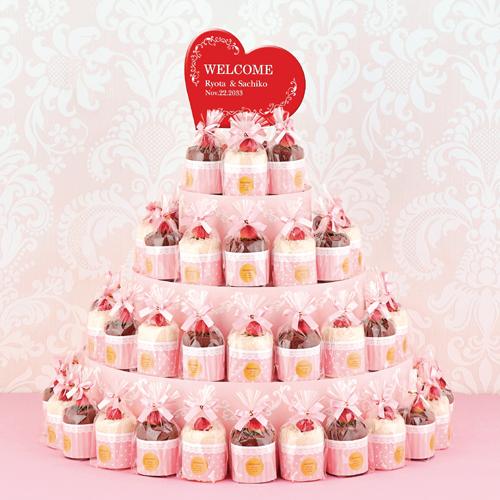 ラブリーカップケーキタワー ケーキタオル38個セット(プレーン&チョコ)│プチギフト プレゼント ウェルカムボード 名入れ 結婚式 2次会 ウェディング ハンドタオル 個包装 実用的 かわいい おもしろい 割引き ギフト